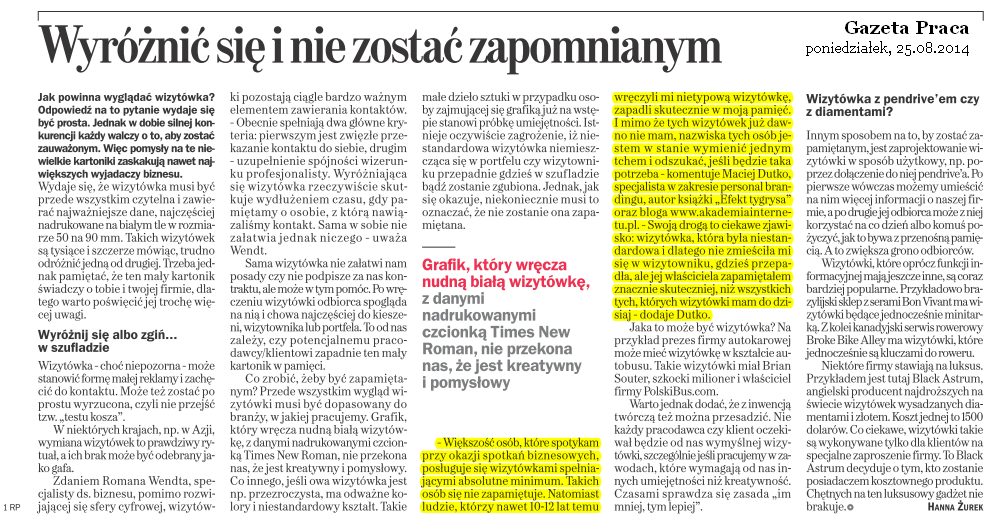 GazetaPraca - wywiad o wizytówkach
